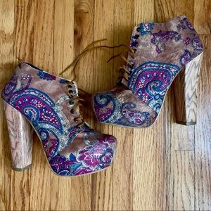 Shoes - Paisley wood booties! ❤️
